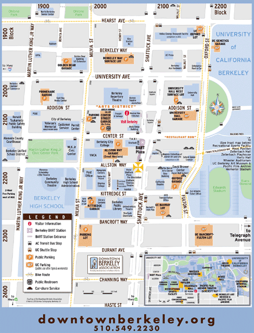 Map of Downtown Berkeley, with link to the Downtown Berkeley Association maps and transit page