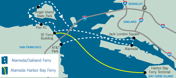 Map of the ferry service, with link to http://www.eastbayferry.com/when/when.html
